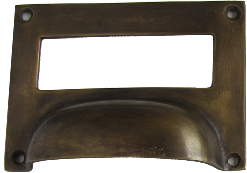 Drawer Label Crescent Pull in Antique Brass
