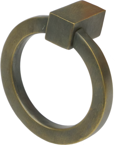 Flat Circular Ring Pull Antique Brass (2 sizes)