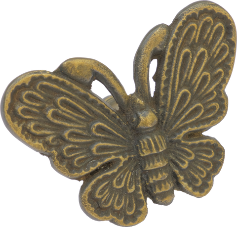 Detailed Butterfly Cabinet Pull in Antique Brass