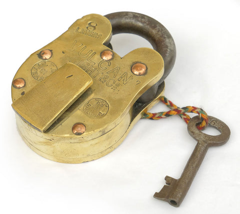 Vulcan Bright & Co. Brass 8 Lever Padlock with Copper Rivets