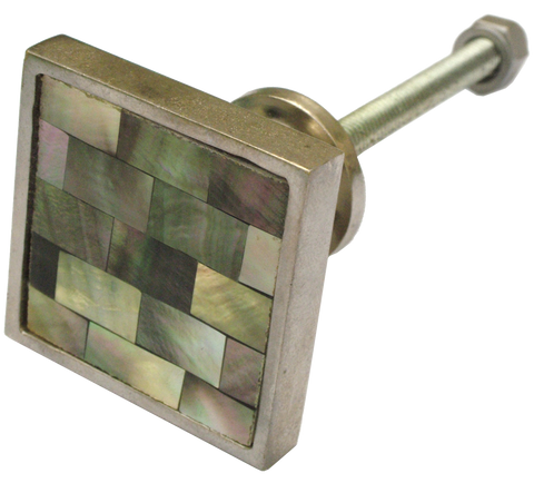 Inlaid Grey Shell Square Cabinet Knob ( 3 sizes )