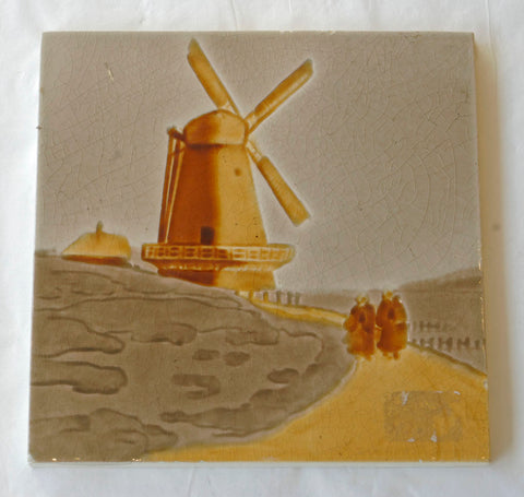 Dutch Windmill Scene Tile circa 1890 Belgium Made