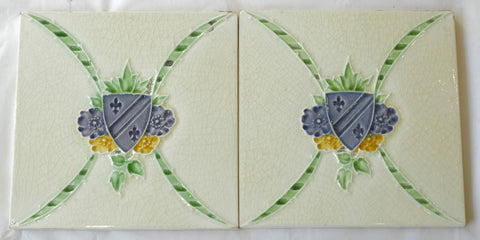 Pair of Heraldic 1880's Tiles by H&R Johnson