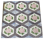 Art Nouveau Majolica Rose Tile Set