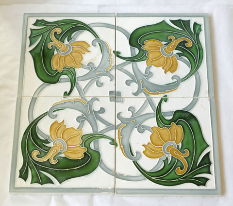 Art Nouveau Majolica Japanese Made Tile Set