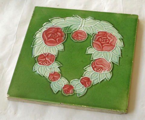 Green Tile with Pink Rose Wreath circa 1890