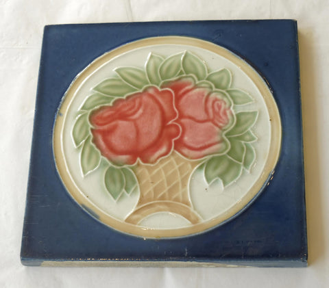 Blue Glazed Tile with Pink Roses circa 1890