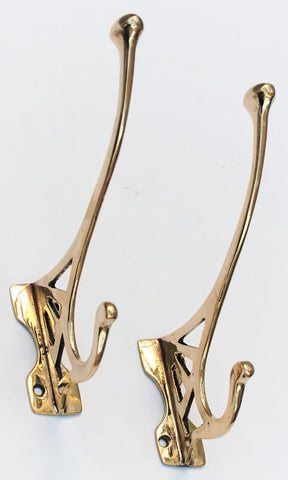 Pair of Antique Nouveau Copper Brass Hook circa 1910