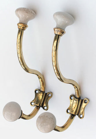Pair of Antique French Porcelain Tipped Hooks circa 1890