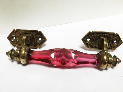 Rare Pink 1890s/20s Cut crystal handle
