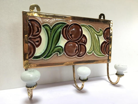 Art Nouveau Grape Tile as a Hook