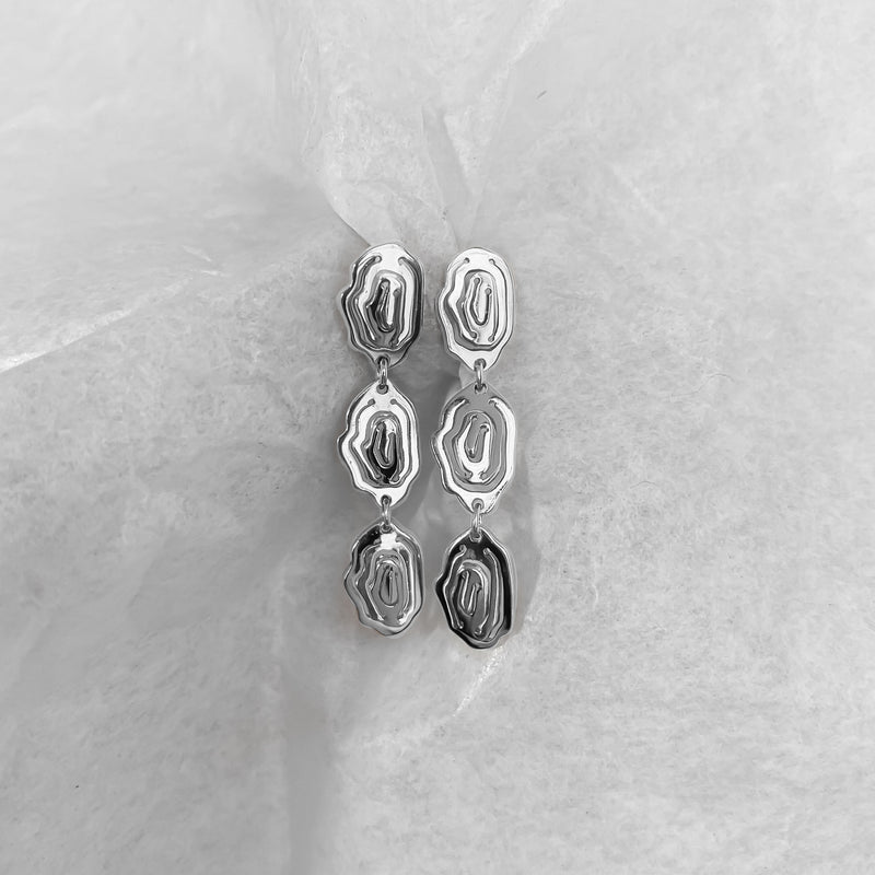 Elena Trio Drop Earrings Silver - Kay Konecna Studio
