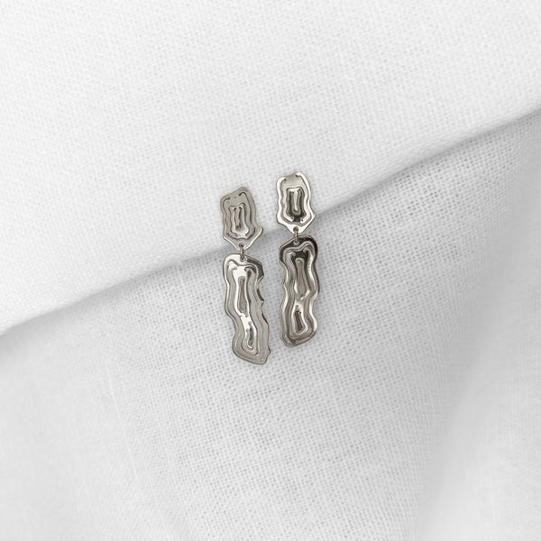 Saliana Short Drop Earrings Silver - Kay Konecna Studio