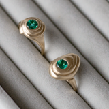 Emerald Double Spiral Ring - Kay Konecna Studio