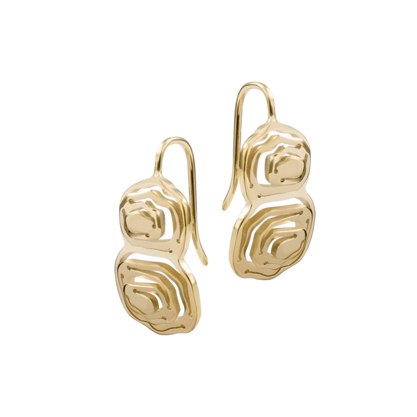 Elena Duo Wire Hook Earrings Gold Vermeil - Kay Konecna Studio