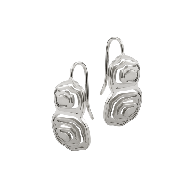 Elena Duo Wire Hook Earrings Silver - Kay Konecna Studio