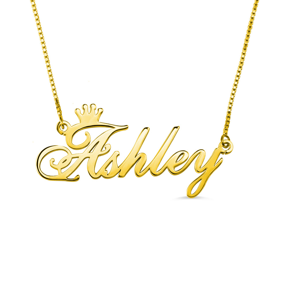 Personalized Name Crown Pendant
