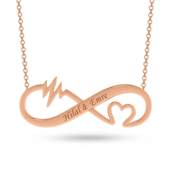 Personalized Infinity Heart Rate Name Pendant