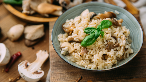 mushroom risotto is creamy comfort food with no dairy or added richness