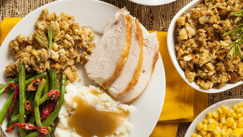 leftovers from thanksgiving dinner can be layered into the most delicious day-after casserole