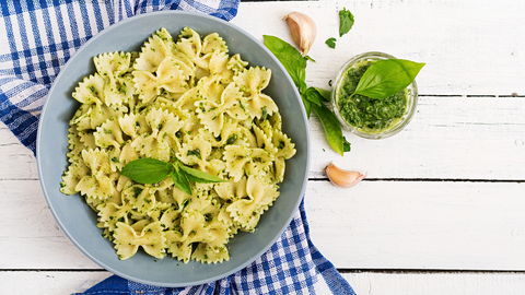 pesto pasta is a light and easy summer recipe