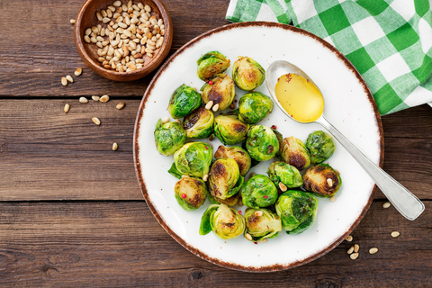roasted brussels sprouts with pine nuts are great for the holidays