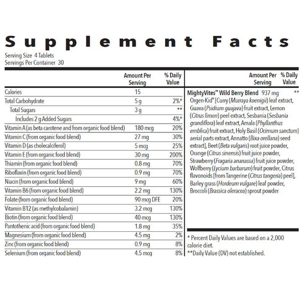 KidScents MightyVites Chewable Tablets (120 ct) Supplement Facts   Be Vivid You