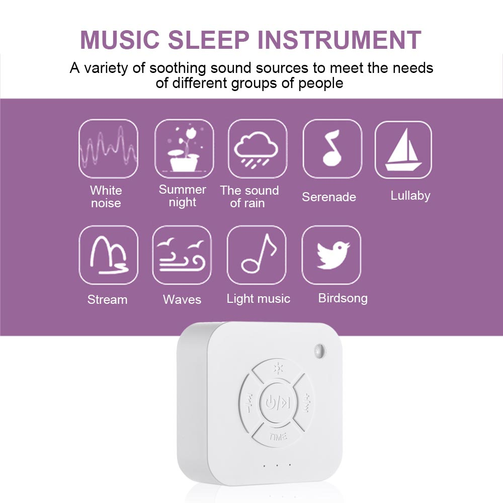 White Noise Machine - USB Rechargeable - 9 Sleep Sounds For Sleep Relaxation For Baby's