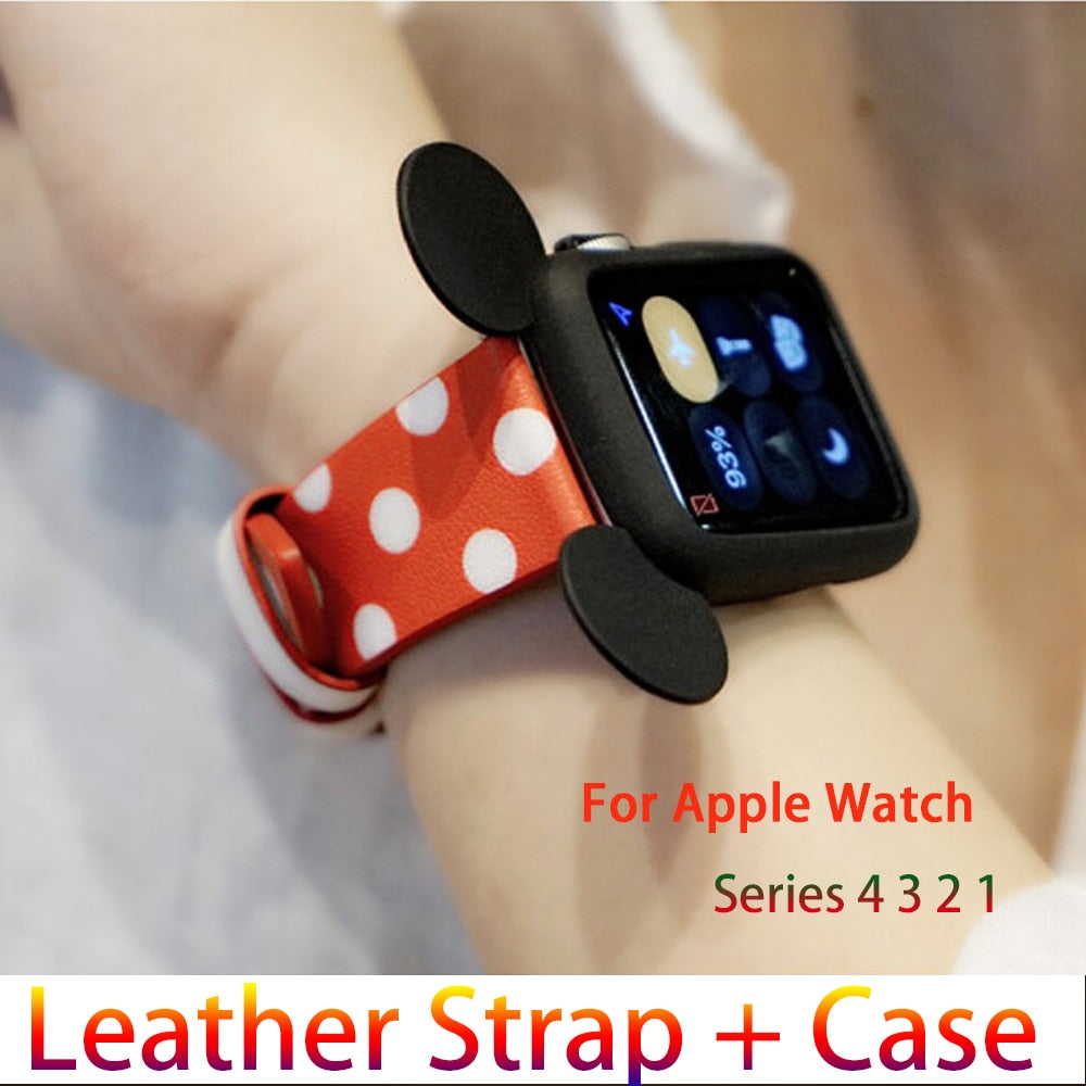 Genuine Leather strap + Case for apple watch band 42mm 38mm iwatch 4 bands 44mm 40mm Mickey Mouse case Woman Watchband 4 3 2 1