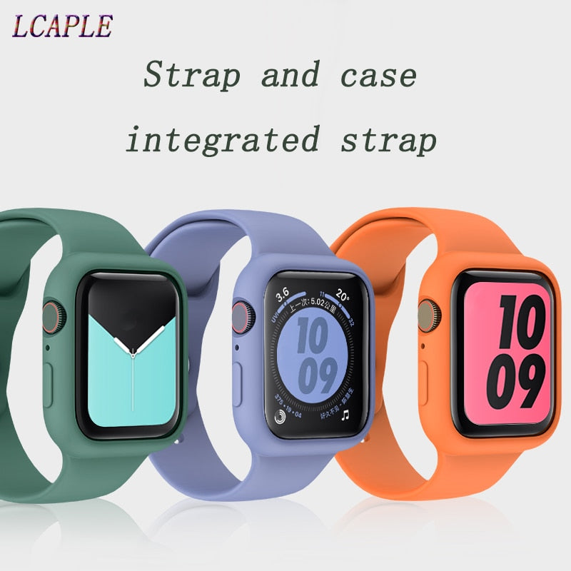 Strap and case integrated strap for apple watch band 44 mm 40mm apple watch 5 4 3 2 1 iwatch band 42mm 38mm correa pulseira belt
