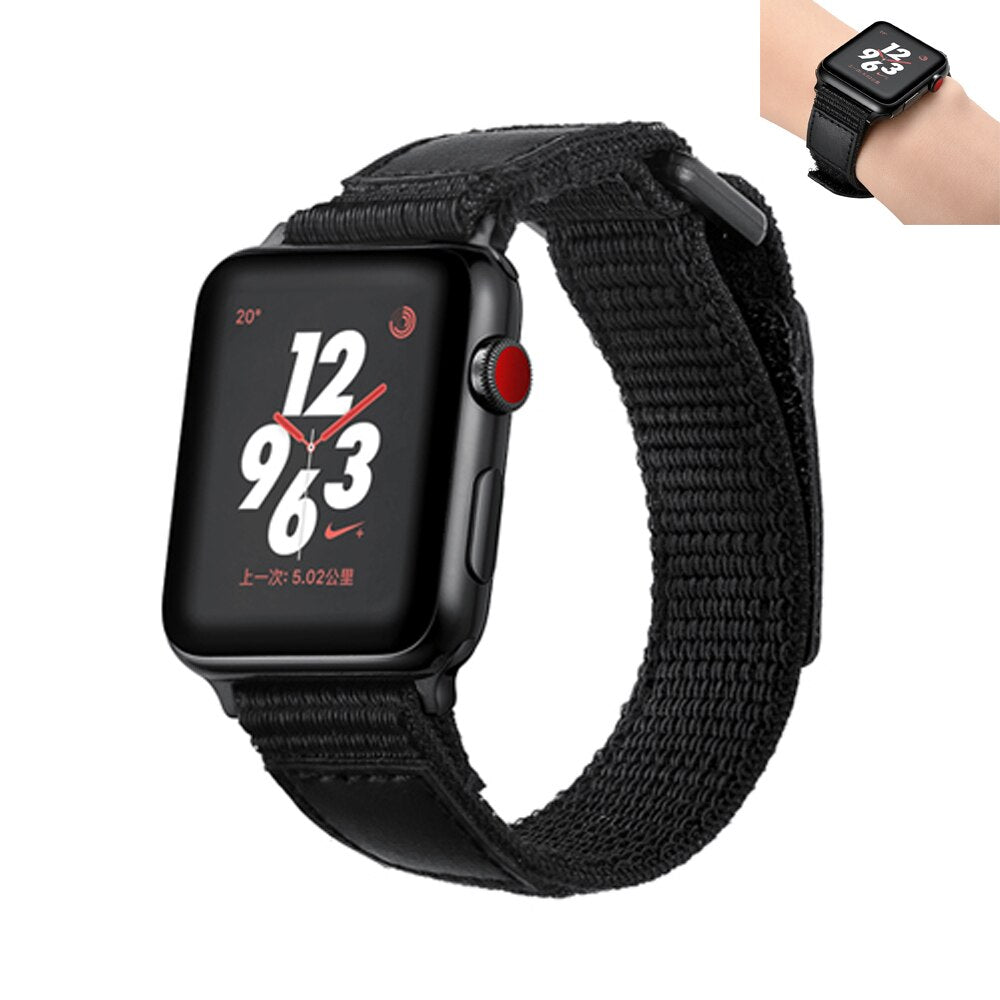 Sport loop strap for apple watch 5 4 band 44mm 40mm Breathable Leather+Nylon Bracelet belt watchband for iWatch 3/2/1 42mm 38mm