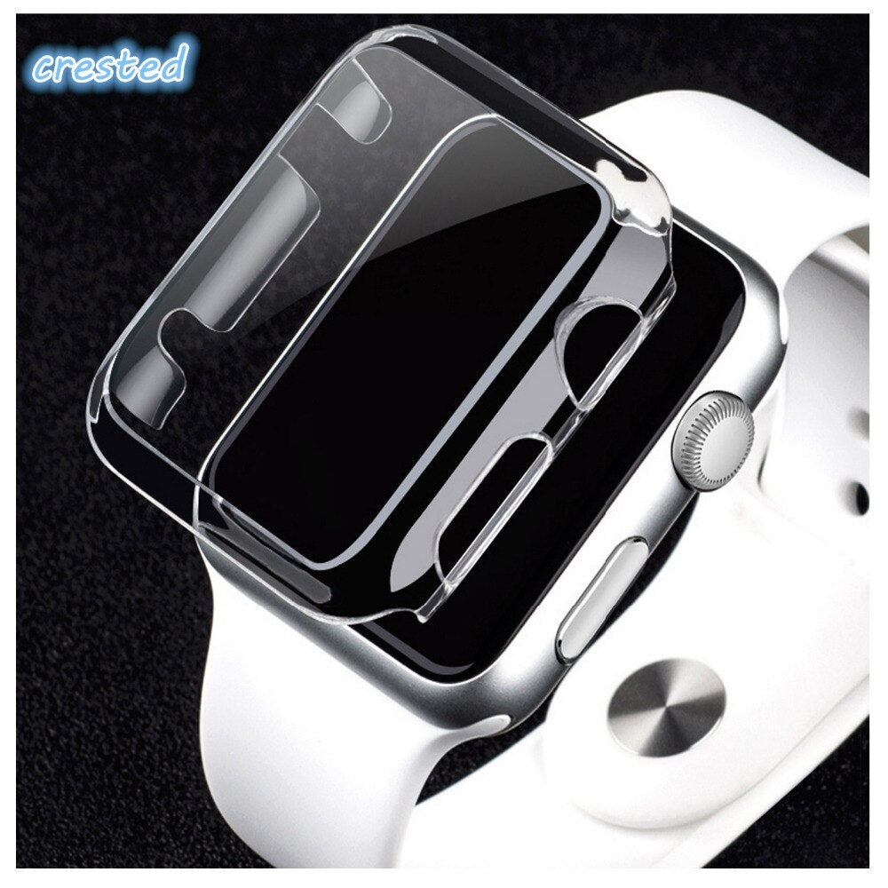 PC bumper for Apple Watch 4 5 case 44mm 40mm iWatch series 3/2/1 42mm 38mm Plated Full screen protective watch case cover 44 40