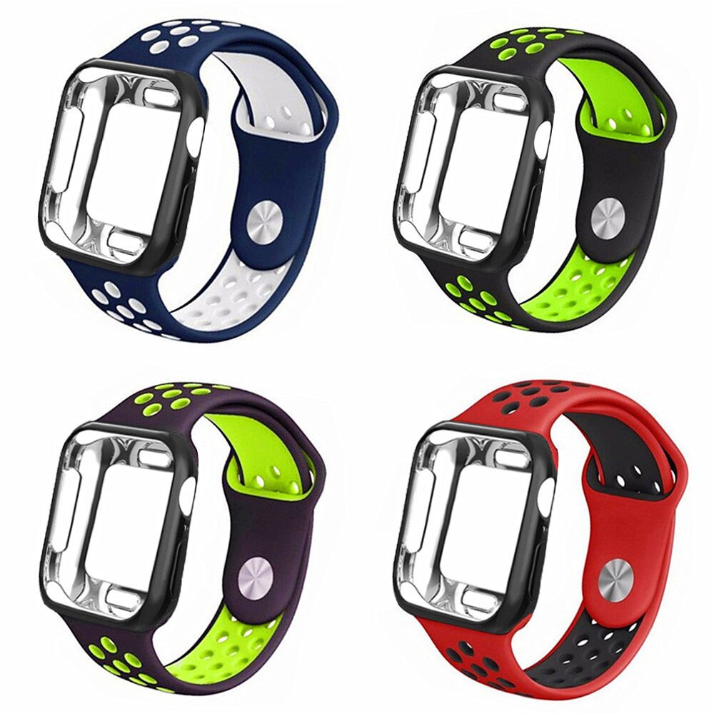 Strap+case For Apple Watch band 42mm/38mm iwatch 4/3 band 44mm/40mm bracelet watch correa Sport Silicone belt+protective cover
