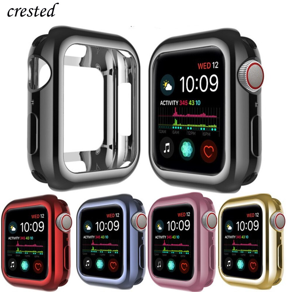 TPU Bumper for Apple Watch Case cover Apple watch 5 4 case 44mm 40mm iWatch 3 21 42mm 38mm Soft Plating screen protector case 44