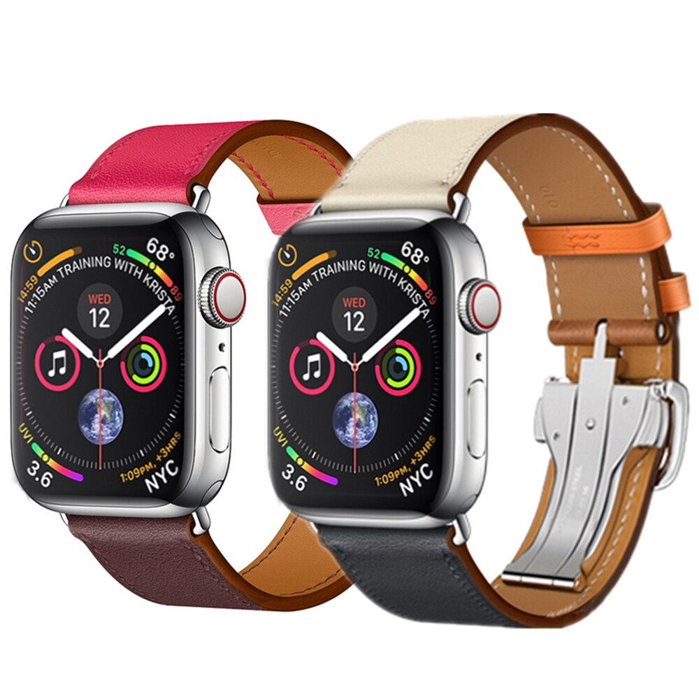 Deployment Buckle strap For Apple watch band 4 44mm 40mm Leather watchband for iwatch correa 42mm/38mm 4/3/2/1 wrist belt