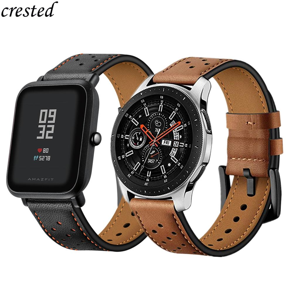 20/22mm strap For Galaxy Watch 46mm/42mm/Active Samsung Gear S3 frontier/S2/Sport Genuine Leather Band Huawei Watch GT S 3 2 46