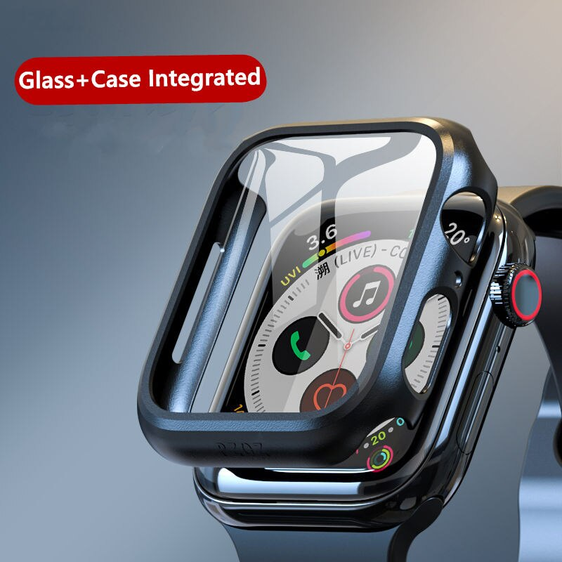 Case+Glass For Apple Watch 5 44mm 40mm iWatch 42mm 38mm 3D 9H Screen Protector+bumper cover apple watch 4 3 2 1 series 40 44 mm