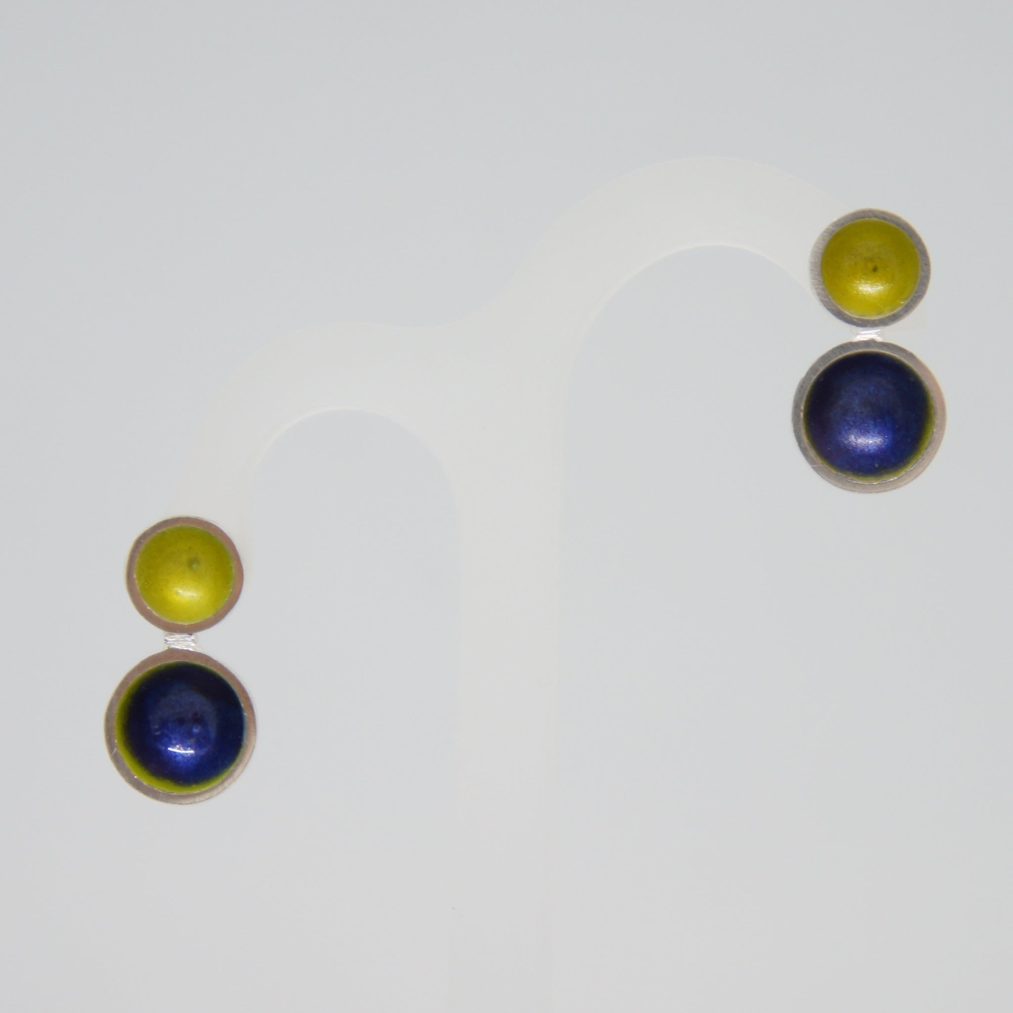 Esthetique Enamel Purple And Yellow Earrings