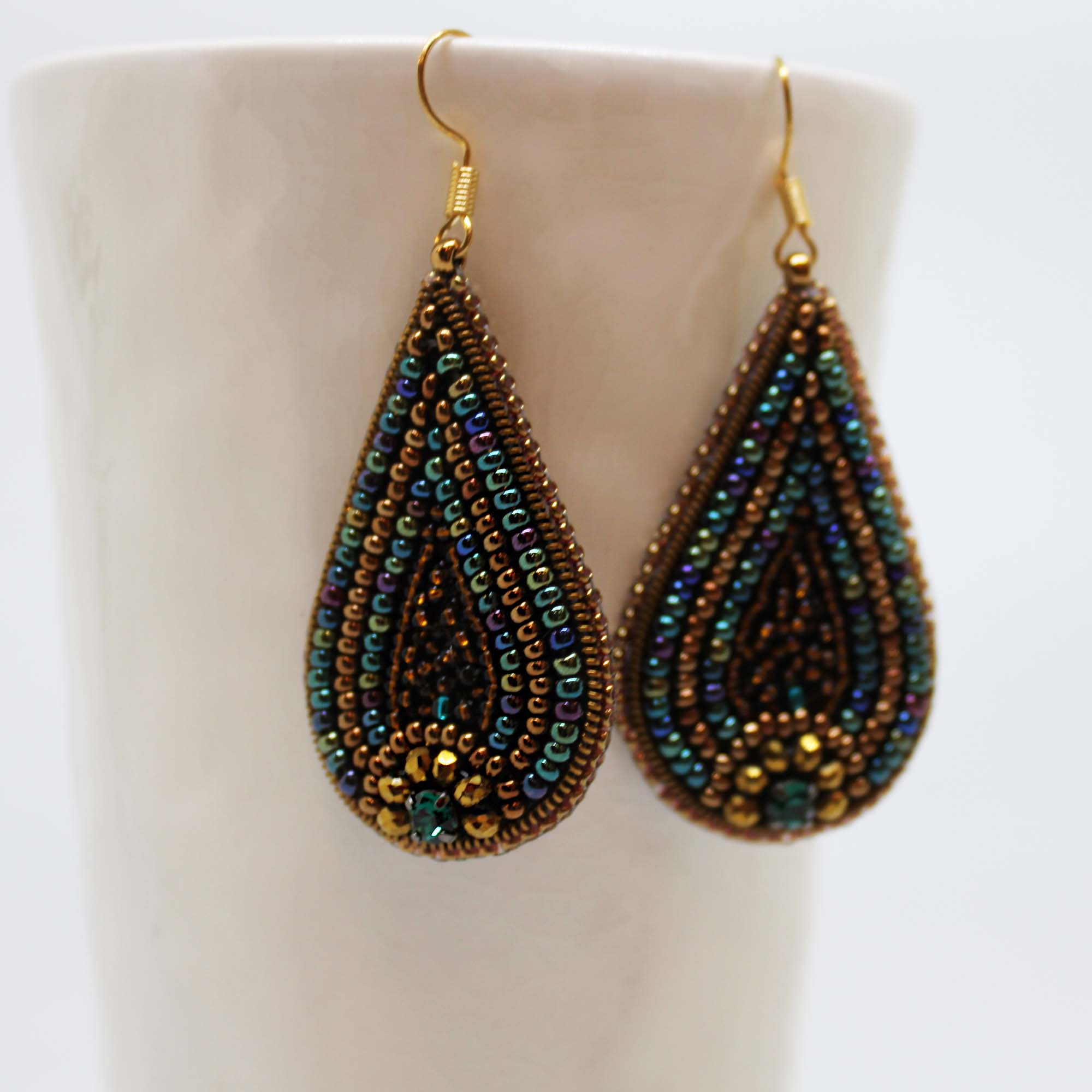 Brown bead earrings