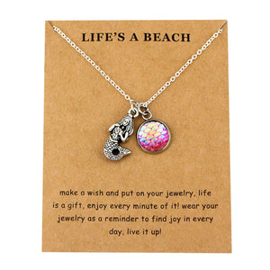 Sea Turtle Tortoise Necklaces Ocean Waves Beach Conch Shell Pendants Women Men Unisex Trendy Jewelry Lover's Christmas Gift