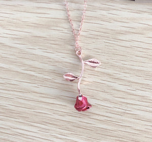 2019 Fashion Red Rose Flower Pendant Necklac Girl's Golden Plant Necklace Anniversary Lover Charm Party Jewelry Gift