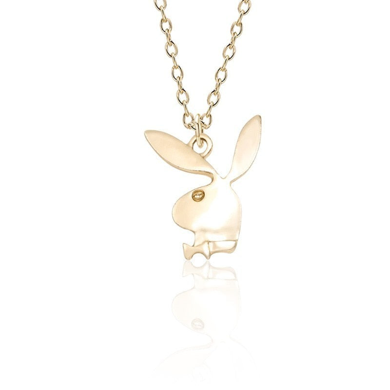 Trendy Rabbit Necklace Women Gold Silver Metal Bunny Head Charm Pendant Necklaces Fashion Animal Jewelry Dropshipping Collares