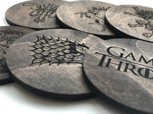 Game Of Thrones - Set of 6 Coasters ( Black Color )