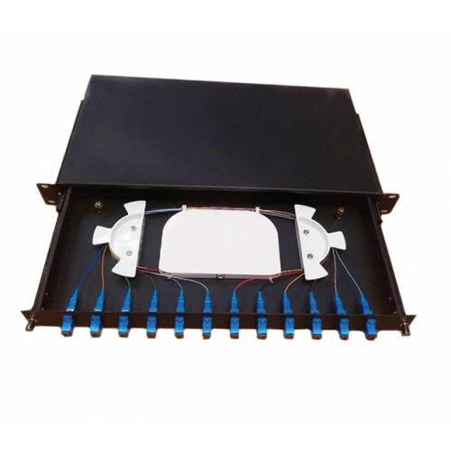 Fully loaded Fiber Patch Panel 12 Port ODF (with SC Simplex Adaptor)