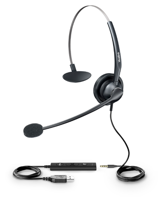 VoIP Yealink headset with Quick-disconnect (QD) cord to 1 to RJ9 Headset Jack