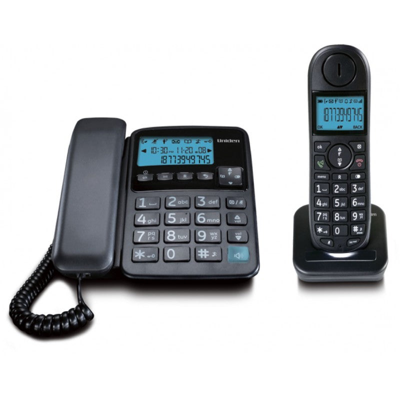 Uniden Corded & Cordless Combo Landline Phone With Caller ID & Speakerphone