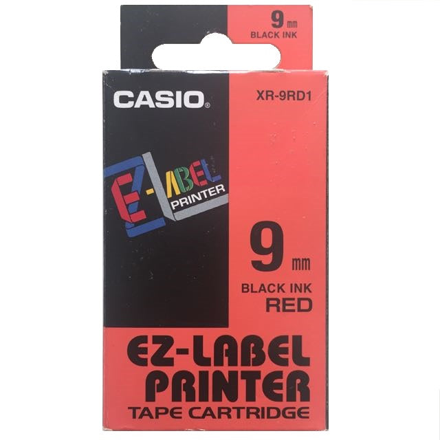 EZ-Label Printer 9mm Tape Cartridge - Black Ink on Red Tape
