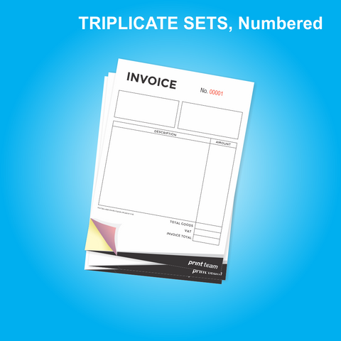 NCR A5 Triplicate (Sets) Numbered
