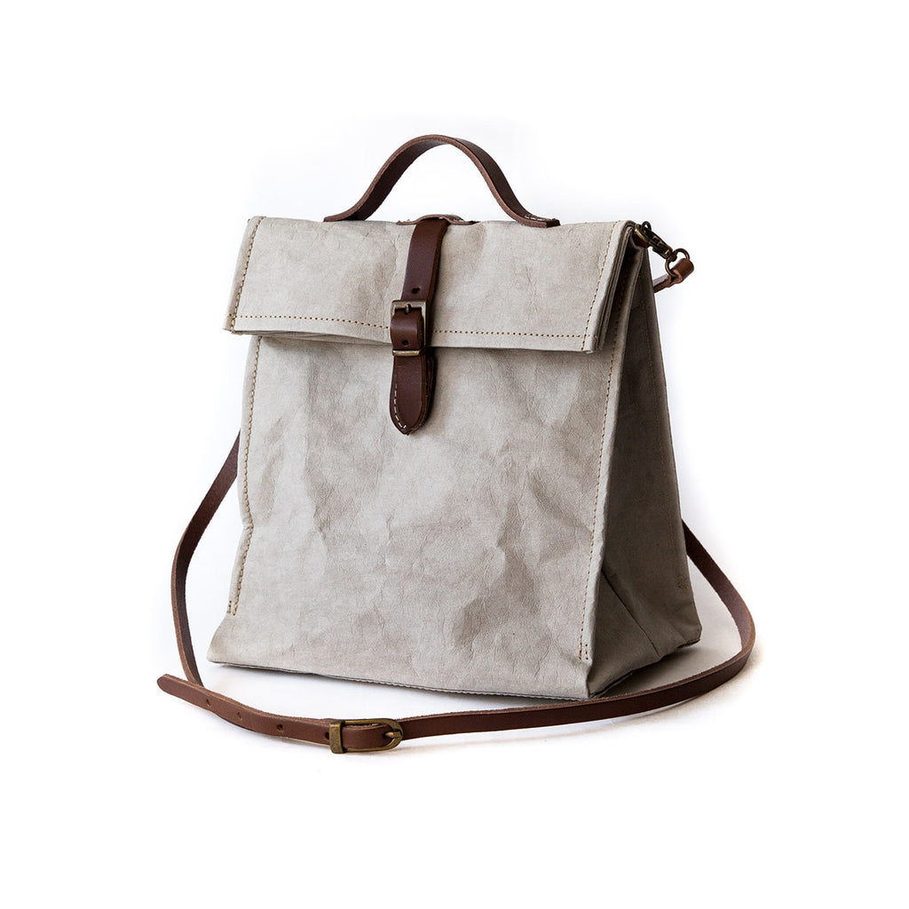lunch bag long strap grey