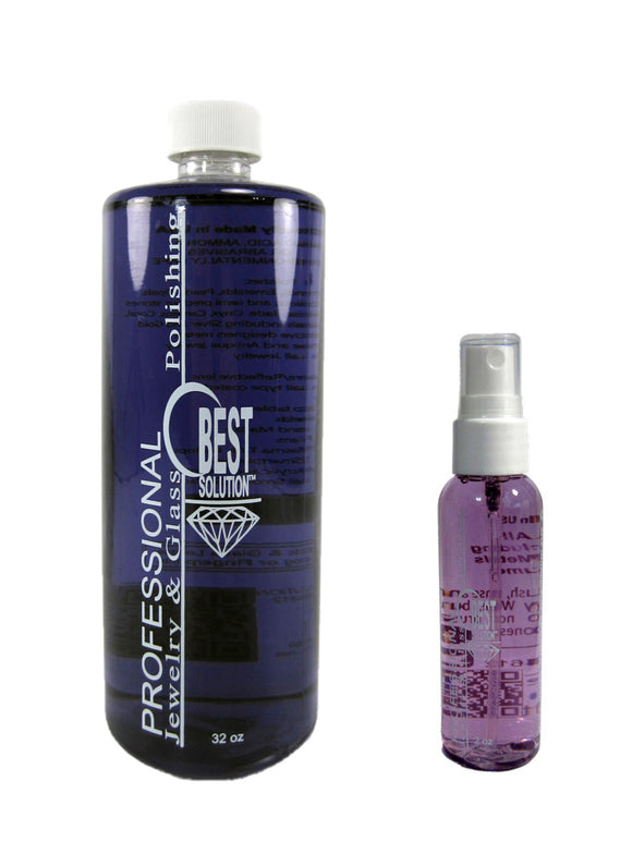 BEST SOLUTION Jewelry Cleaner 32oz Bottle with 2oz Travel Spray Bottle